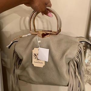Bags - Taupe fringe handbag